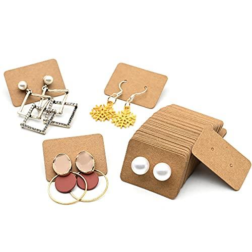 Tarjetas de Exhibición de Collar de Pendiente, 200 piezas Tarjetas de Exhibición de Collar Tarjetas de Exhibición de Pendientes para Pendientes de Bricolaje, Pendientes de Oreja - Marrón(2.5x3.5cm)