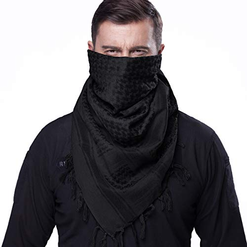 FREE SOLDIER 100% Cotton Military Shemagh Tactical Desert Keffiyeh Head Neck Scarf Arab Wrap with Tassel 43x43 inches(Black)