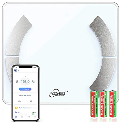 Digital Bathroom Scales Digital Body Fat Scales Weight with BMI Body Composition Monitor,High Precision Health Analyzer with Smartphone App for Fitness Tracking 180kg/400lb,Auto On/Off Function