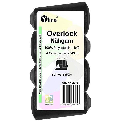 4bobinas de hilo Overlock, color negro, 2743m, NE 40/2, 100% poliéster, hilo para máquinas de coser, 2885