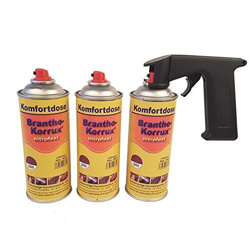 Brantho Korrux 3 x nitrofest rotbraun 400ml Spraydose Rostschutz Metallschutzfarbe + Spraydosenhandgriff