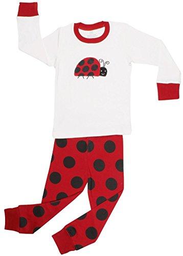elowel   Schlafanzug   Pyjama   Kinder   Mädchen   Zweiteilig - 2-Teilig   Enganliegend   100% Baumwolle   Bequem, Weich   Größe: 6-12 Monate   Design: Käfer   Farbe: Mehrfarbig