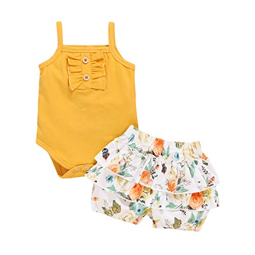 bilison Toddler Baby Girl Clothes Outfits, Solid Color Ruffle Short Sleeve Tops + Pant Set with Headband (Sleeveless-Yellow, 3-4years)