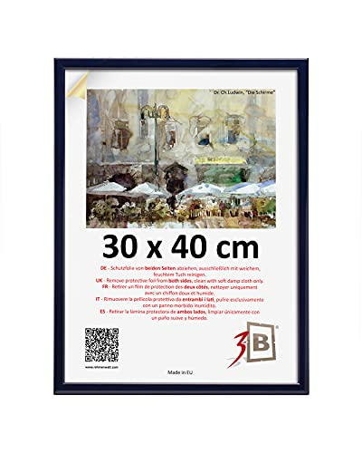 3B Marco de Fotos ULM 30x40 cm - Azul Marino - Marco de Madera, Foto, parojo con Vidrio de poliéster (lámina de plástico)