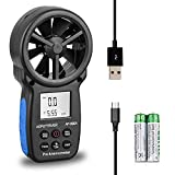Digital Anemometer Handheld CFM Meter AP-866A with USB Connect Air Flow Meter Measure Wind Temperature/Speed Wind chill with MAX/MIN/AVG, Backlight LCD Display for Sailing, HVAC, Flying