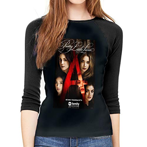 MeiShop Frauen 3/4 Ärmel T-Shirts Women's Custom Pretty Little Liars Raglan T Shirt Front Print 3/4 Sleeved T-Shirts Tee for Women