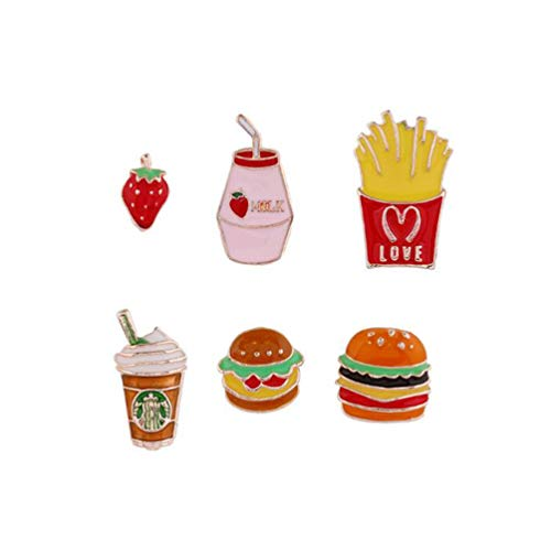 Cute and Sweet Set Earrings Simple Retro Dripping Oil Strawberry Burger 6-Piece Earrings