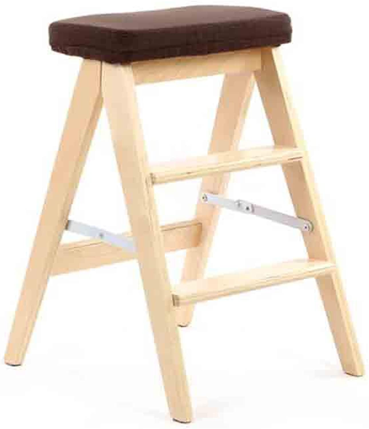 SUNNY Folding Ladder Stool, Multi-Function Wooden Stool, Detachable Cloth Cover (color   4)