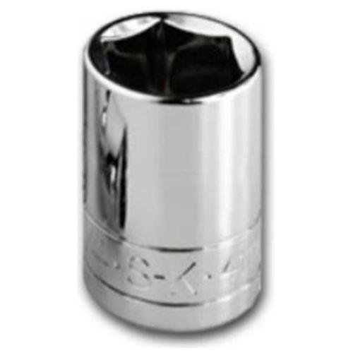 SK Professional Tools 40712 1/4 in. Drive 6-Point Metric Standard Chrome Socket