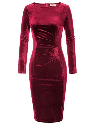 Belle Poque BP744 - Vestido tubo largo para mujer, de terciopelo, largo hasta la rodilla, elegante Rojo vino (744-5). XXL