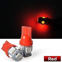 12V車用 SMD5連 T10 LED ウェッジ球 レッド 赤 5SMD Red ライト 自動車 バルブ 5連砲弾型レッド T16 ロービーム ウィンカー カーライト カラー