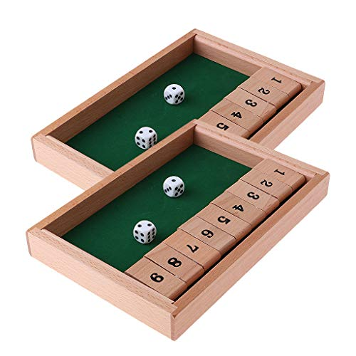 freneci Juego de 2 Piezas Shut The Box Tablero de Madera 1-9 Número Dados para Beber Juego Familiar