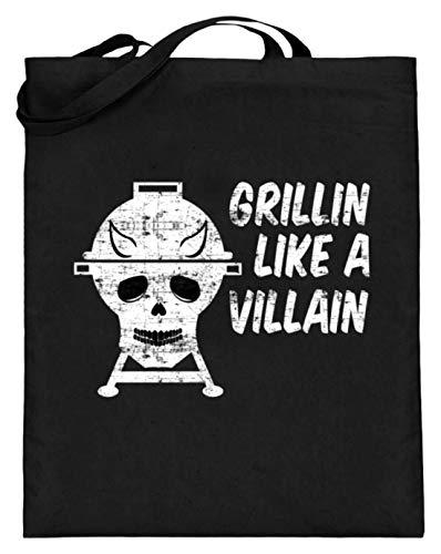 Grillin Like A Villain - Totenkopf mit Hörnern - Barbecue Grill - Jutebeutel (mit langen Henkeln)