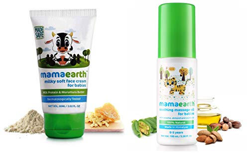 Mamaearth Milky Soft Natural Baby Face Cream for Babies 60mL & Soothing Massage Oil 100% Natural Oils for Babies and Kids,100ml