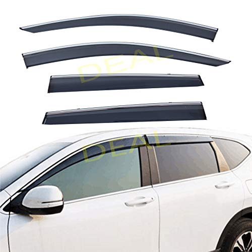 Side Window Rain Guard With Outside Mount Tape-On//Clip-On Type Custom Fit High-Class Quality For 2017-2020 Honda CR-V All Models DEAL 4-Piece Set Vent Window Visor With Smoke Chrome Trim