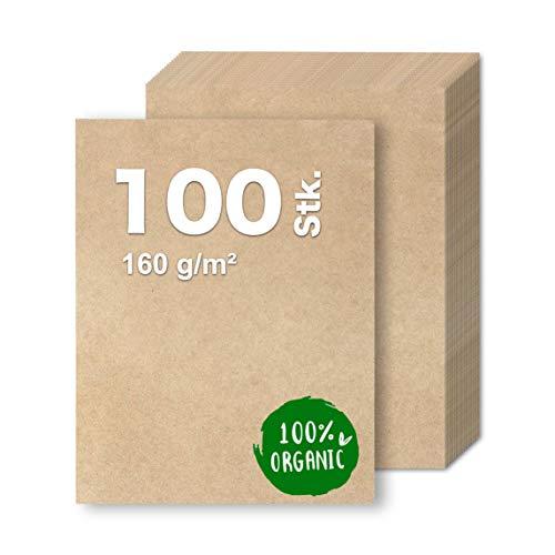 100x Kraftpapier 160 g/m² DIN A4 Papier braun aus Naturkarton geeignet als Bastelkarton, Kraftkarton, Scrapbooking - bedruckbar (100x)