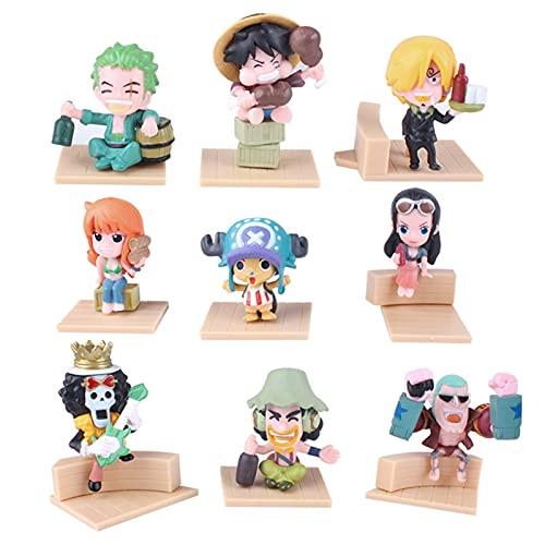 ioth 9pcs Personaje de acción One Piece Monkey D. Luffy Usopp Decoración Regalo Modelo de Regalo Cómic Decoración 6 cm