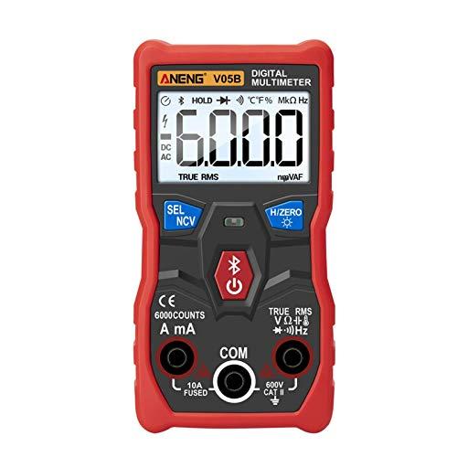 Multímetro Digital,Dc AC Voltímetro,Ohmio Voltio Test Metro,Bluetooth Inalámbrico App Diodo Voltaje Medidor Tester de Continuidad,Eléctrico Probador Ohmímetro Con Continuidad Detector,Rápido Precisión