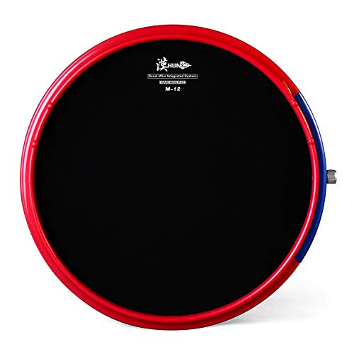 HUN Drum Practice Pads,12 Inch Real Feel Silicone Practice Pad, Sand-Wire Integrated System Marching Pad,Beginner Snare Drum Training Pad, M-12 Red