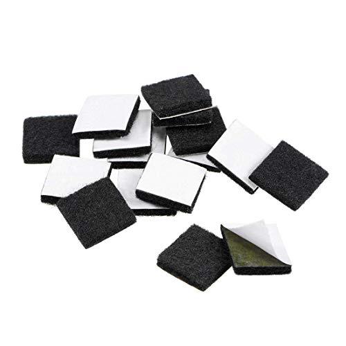 YeVhear Furniture Pads - Almohadillas de fieltro adhesivas (16 x 16 mm, cuadradas, 3 mm, 16 unidades), color negro