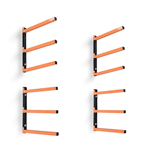 Homydom Wood Organizer and Lumber Storage Metal Rack with 3-Level Wall Mount, 2 Pack