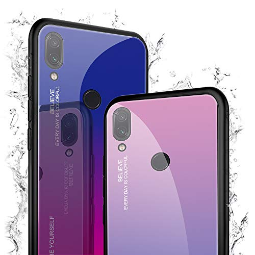 Hülle Kompatibel Mit Huawei Honor Play 8A Schutzhülle Hochwertig Blau 9H Gehärtetes Cover Case Play 8 A Handyhülle Silikon Edge Bumper Stoßfest Original Tasche Schale (Glas Lila Blau) - 3