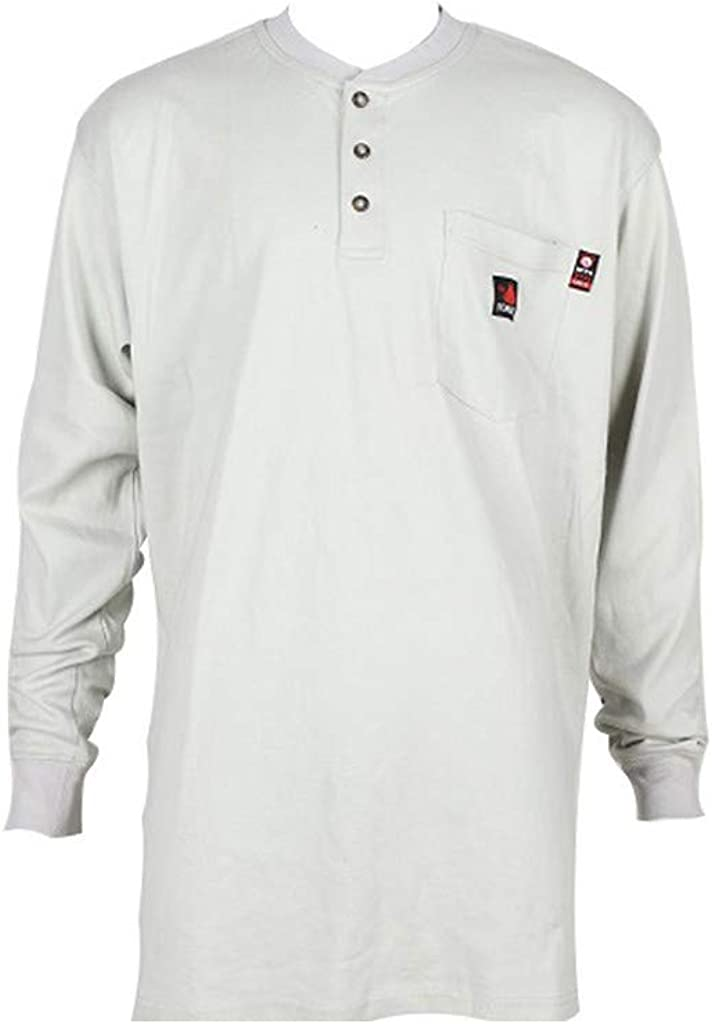 Forge FR Work Shirt Men Long Sleeve Henley FR XL Lt Gray MFRHNLY-004