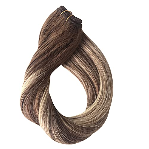 Highlights Sew in Weft Hair Extensions Human Hair Weave Bundles Virgin Real Remy Hair Extensions Bundles Natural Seamless Full Head Silky Straight Medium Brown with Honey Blonde Highlights 100g 18in