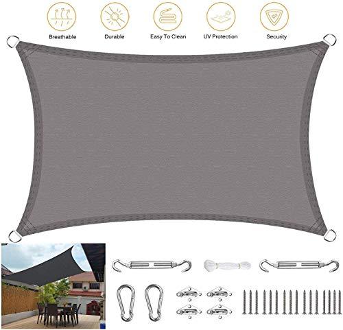 YYF Wasserdicht Sonnensegel Sonnenschutz Rechteckig UV-Schutz Garten Terrasse Camping Wetterschutz Wasserabweisend,Gray-4x6m