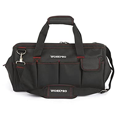 WORKPRO 18-inch Close Top Wide Mouth Storage Tool Bag with Adjustable Shoulder Strap