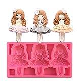 SUNIY Molde de Silicona con Forma de Princesa de 3 niñas,moldes de Pastel deChocolate y Fondant,Herramientas de decoración de Pasteles para Hornear de Cocina