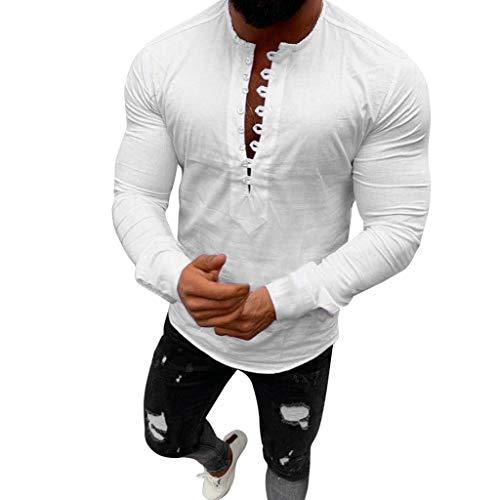 POachers T-Shirt à Manches Longues pour Homme Chemises T-Shirt Col V Bouton Chemises Tee-Shirt Casual Top Manches Longues Chemise Slim Fit Sexy Blouse Tops M-3XL
