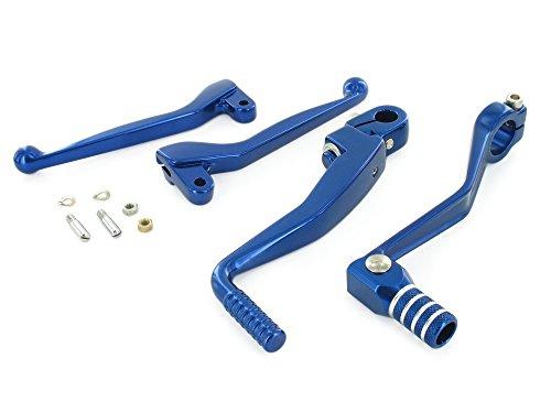 SET Styling-Set Anbauteile (bestehend aus Brems-/Kupplungshebel und Kickstart-/Fußschalthebel, + Schrauben) Farbe blau