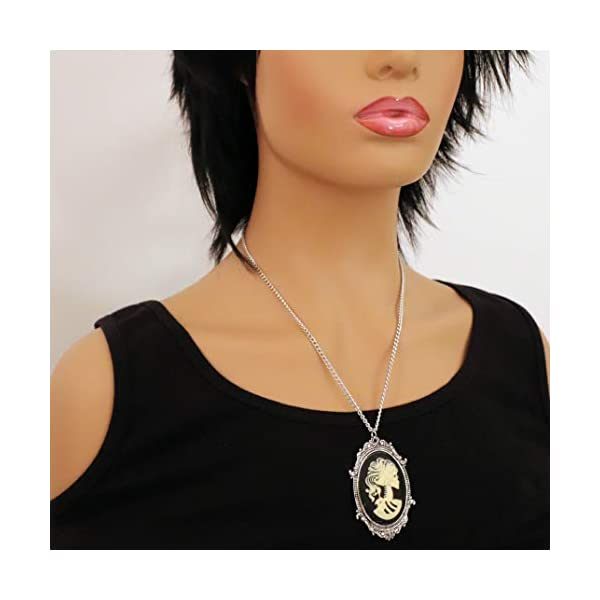 Gothic Lolita Skull Cameo in Pewter Frame Pendant Necklace 4