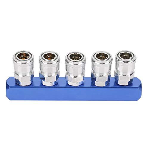 Akozon Enchufe de Acoplamiento Rápido para Mangueras de Compresor de Aire Neumático 12mm PT1 / 4(5 vías)