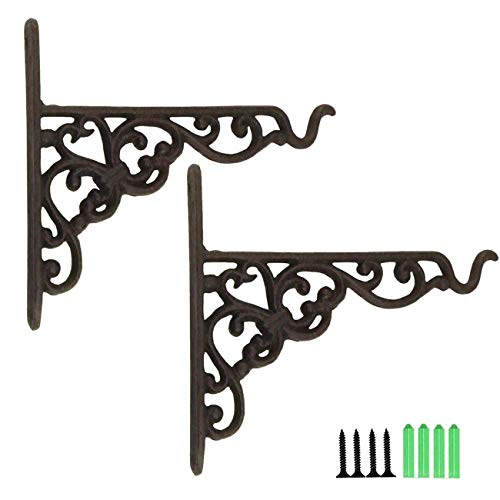 TinaWood 2PCS Cast Iron Hanging Basket Vintage Wall Hook with Screws Heavy Duty Decorative Plant Hanger for Bird Feeders, Planters, Lanterns, Wind Chimes, Wall Brackets(2)
