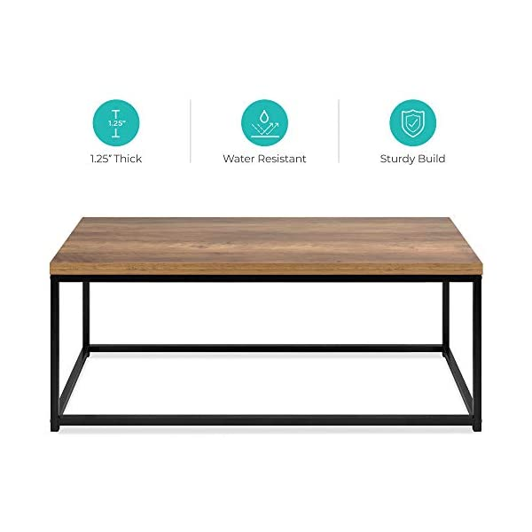 Best Choice Products 44in Modern Industrial Style Rectangular Wood Grain Top Coffee...