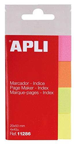 APLI 11286 – Índices adhesivos (20 x 50), papel flúor