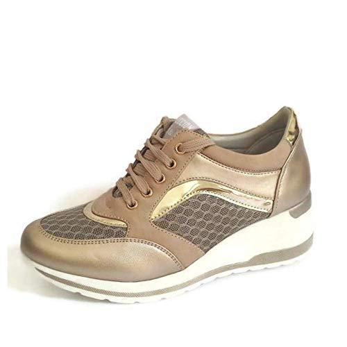 Zapatilla Deportiva con Estilo Mujer/Bambas de Chica con Cuña/Zapato de Mujer Sport para Vaqueros/Tenis con Cuña Baja (Dorado, 38)