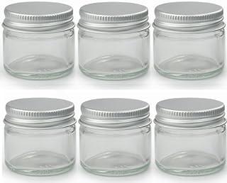6 x tarros de cristal transparente pequeño 15 ml. Apropiado para bálsamo labial, hierbas, especias, crema facial, ungüentos y velas