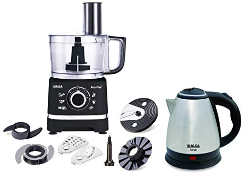 Inalsa Electric Kettle Absa-1500W with 1.5 Litre Capacity, (Black/Silver) & Inalsa Food Processor Easy Prep-800W with Processing Bowl & 7 Accessories,(Black)