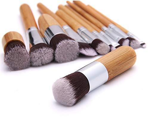 Pinceau de maquillage Set 11 bambou poignée Pinceaux de haute qualité synthétique souple artificielle Laine Mane Fondation Correcteur Ombre à paupières Crayon à lèvres Sourcils Maquillage Pinceau A ++