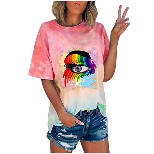 For Sale! Blusa para Mujer 2020 Nueva Camiseta De Manga Corta Con Efecto Tie Dye Summer Casual Loose...