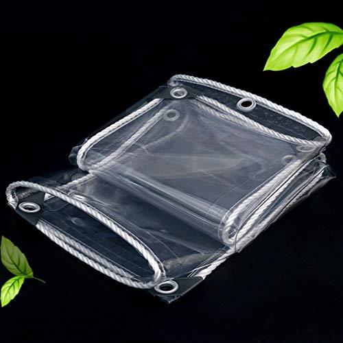 Tarpaulin Sheet Transparent,Waterproof PVC Plastic Tarpaulin,Heavy Duty Anti-Aging Tarpaulin,Dustproof Waterproof and Oil Proof,Perforated Edge Reinforcement,with Eyelets (1.6x4m/5.2x13ft)