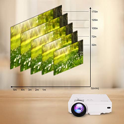 Mini Projector 2400 Lumens Portable Video-Projector,55000 Hours Multimedia Home Theater Movie Projector 1080P Support,Compatible with HDMI,VGA,USB,AV,Laptop,Smartphone