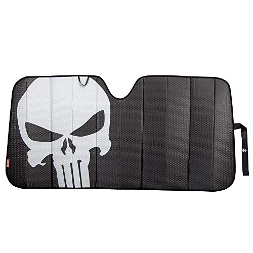 Plasticolor 003899R01 Marvel The Punisher Logo Black Matte Finish Car Truck or SUV Front Windshield Sunshade