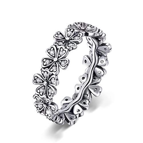 Anello di fidanzamento da donna in argento Sterling 925, con margherita estiva e fiore in stile retrò e Argento, 16 1/2, cod. SUNR397-8