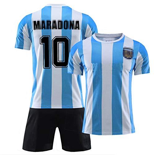 10#Maradona Trikot T-Shirt Herren,Jungen Fußball Jersey Set, Ārgēntína Blaue Hero Jersey 1986/1997 Retro Gedenkrichter, Kinder Fußballuniformanzug Fan Geschenk, S-xx 10#Set- 24