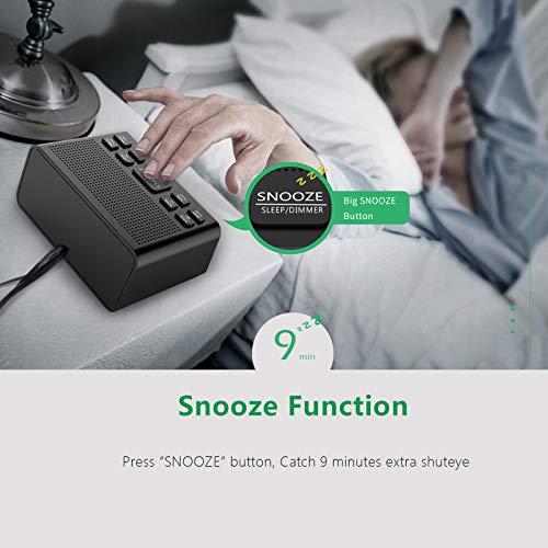 Digital Alarm Clock Radio, Alarm Clocks for Bedrooms with AM/FM Radio, Sleep Timer, Dimmer, Easy Snooze, Battery Backup - 0.6 Green LED Digits