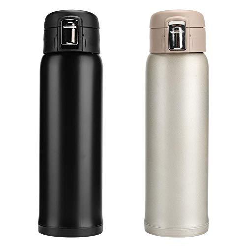 Topincn Thermoskan, warmwaterkruik, geïsoleerde isolatie, 460 ml, draagbaar, betrouwbaar voor op reis, op kantoor zwart